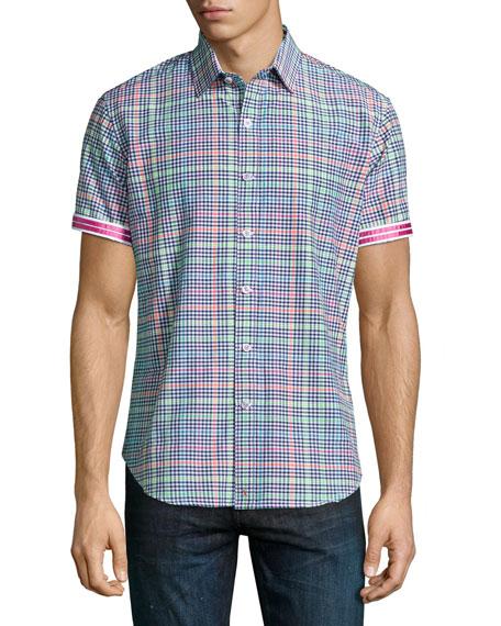 Robert Graham Mini-Check Short-Sleeve Shirt, Multi