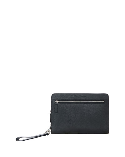 Revival Men's Leather Portfolio Clutch, Black