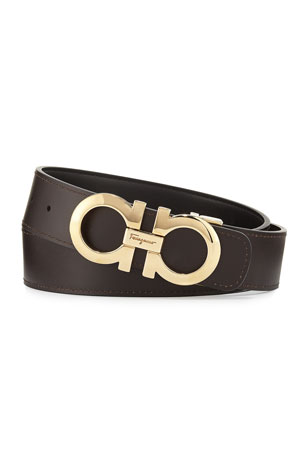 Salvatore Ferragamo Men's Double-Gancini Reversible Leather Belt, Black/Hickory