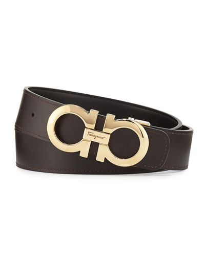 Double-Gancio Reversible Leather Belt, Nero/Hickory