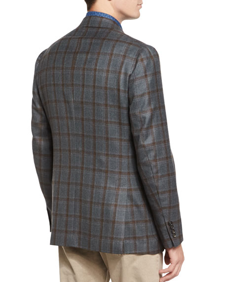 Windowpane Two-Button Sport Coat, Green