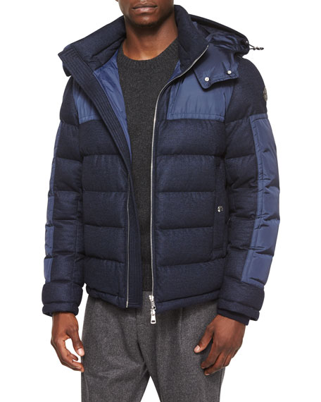 Moncler Severac Wool-Blend Coat with Nylon Inserts, Navy