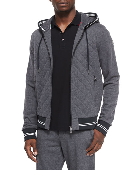 Moncler Diamond-Quilted Zip Hoodie, Gray