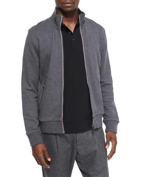 Moncler Full-Zip Track Jacket, Gray