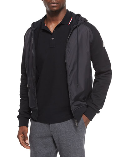 Mixed-Media Zip Hoodie, Black