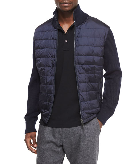 Moncler Mixed Media Quilted Jacket, Navy