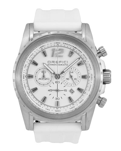 Ibrido Chronograph Watch with Rubber Strap, White