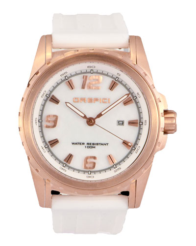 Ibrido Three-Hand Watch with Rubber Strap, White/Rose Golden