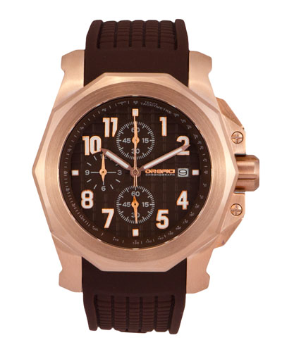 Galante Chronograph Watch with Rubber Strap, Chocolate/Rose Golden