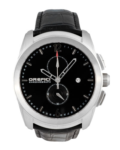 Classico Chronograph Watch with Leather Strap, Silver/Black