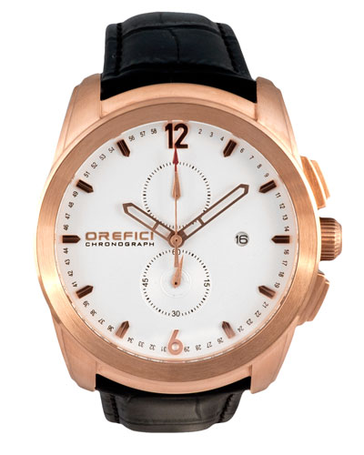 Classico Chronograph Watch, White/Rose Gold