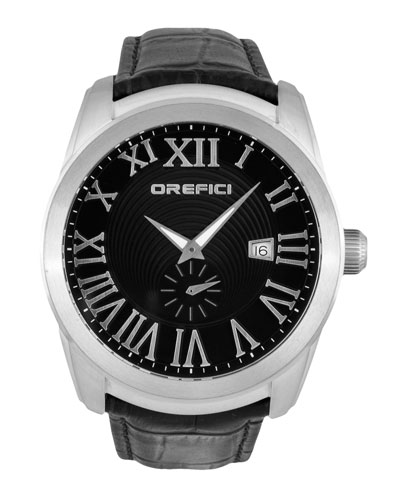 Classico Small Seconds Watch with Black Leather Strap, Steel