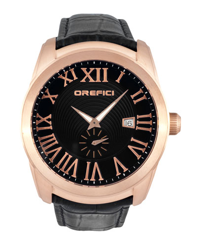 Classico Small Seconds Watch with Black Leather Strap, Rose Gold IP