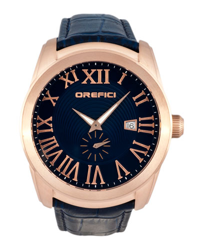 Classico Small Seconds Watch with Blue Leather Strap, Rose Gold IP