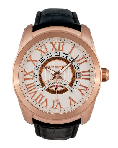 Classico World Time Watch with Leather Strap
