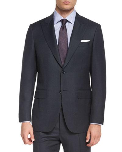 Birdseye Two-Piece Wool Suit, Charcoal