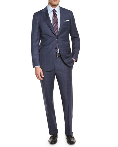 Plaid Two-Piece Wool Suit, Blue