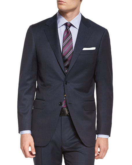 Canali Sienna Contemporary Fit Tonal-Stripe Two-Piece Wool Suit,