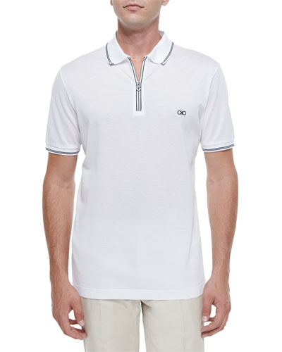 Zip Polo Shirt, White