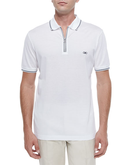 Men's Cotton Piqué Zip Polo Shirt with Gancini Chest Embroidery, White/Navy
