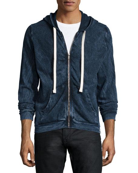 Sol Angeles Dyed Indigo Zip-Up Hoodie, Dark Blue