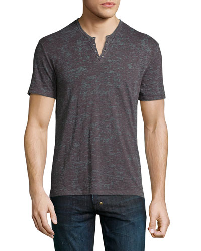 Short-Sleeve Knit Henley Tee, Brown