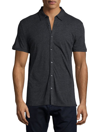Short-Sleeve Knit Button-Down Shirt, Charcoal