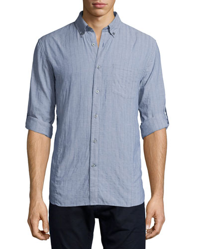 Tonal Stripe Roll-Tab Woven Shirt, Navy