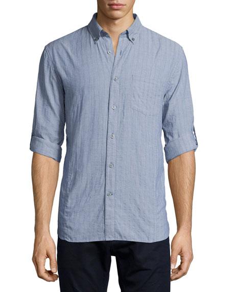 John Varvatos Star USA Tonal Stripe Roll-Tab Woven Shirt, Navy