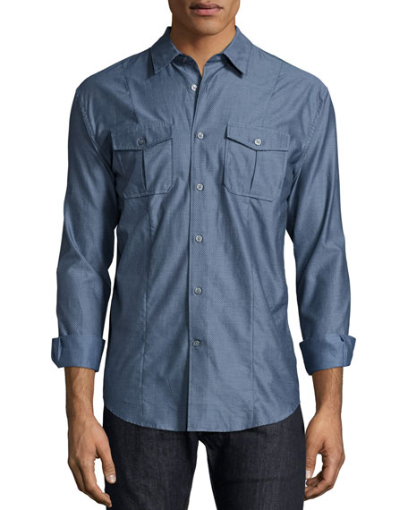 John Varvatos Star USA Micro-Dot Long-Sleeve Shirt, Navy
