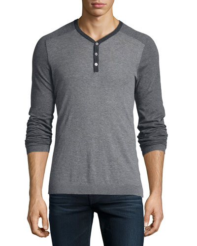 Lightweight Knit Henley Tee, Gray