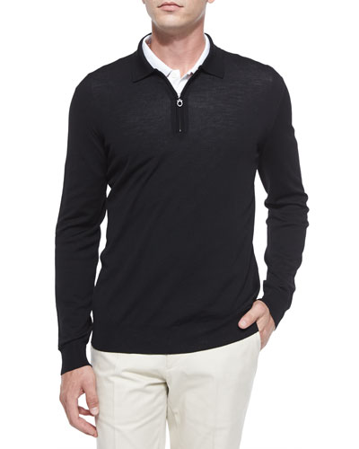1/4-Zip Long-Sleeve Polo Sweater, Black