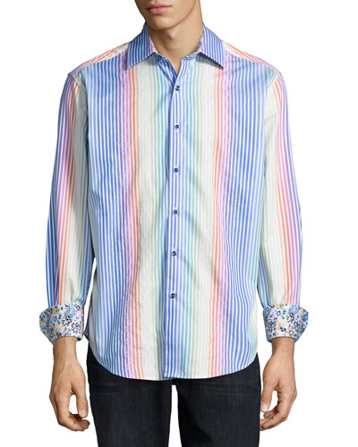 Lanai City Striped Woven Sport Shirt, Multicolor