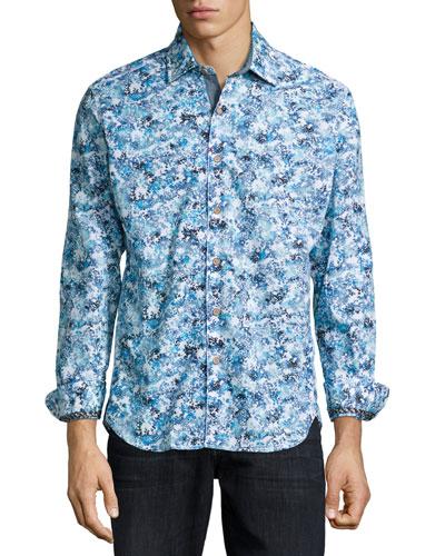Hibiscus-Print Woven Sport Shirt, Light Blue