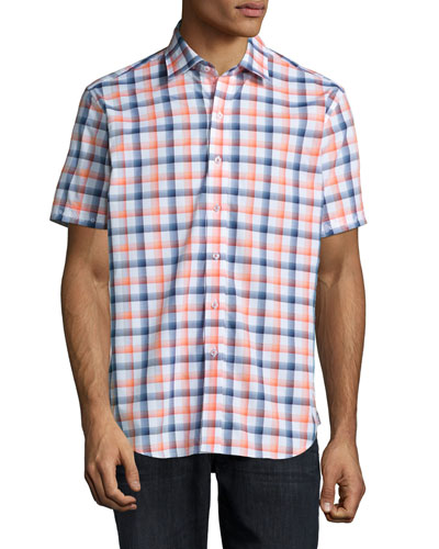 Palm Circle Plaid Short-Sleeve Shirt, Purple