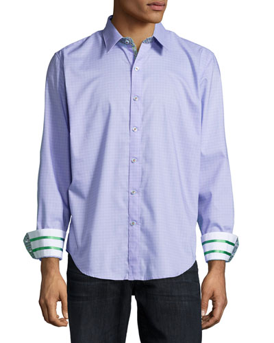 Greymouth Tonal-Check Woven Sport Shirt, Purple