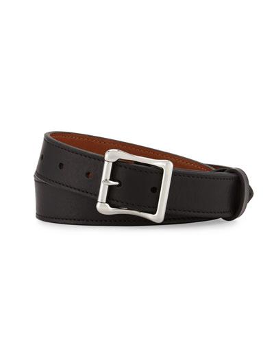 Double Bar Roller Leather Belt