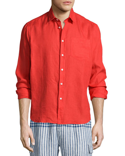 Linen Long-Sleeve Shirt, Red