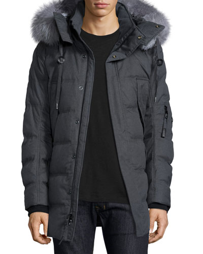 Andrew Marc Puffer Parka with Removable Fur-Trimmed Hood,