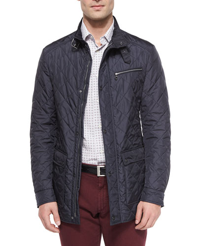 Quilted Barn Coat, Navy