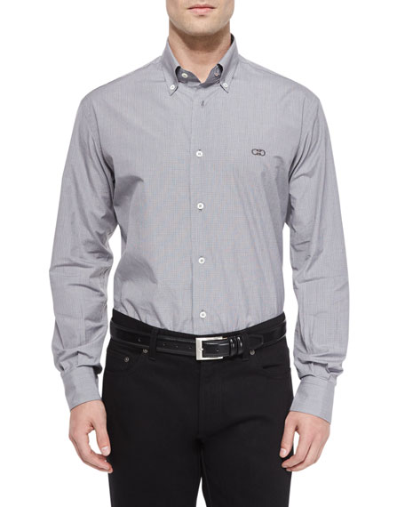 Salvatore Ferragamo Gancini-Detail Plaid Sport Shirt, Black/White