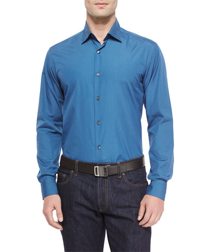 Solid Woven Sport Shirt, Medium Blue