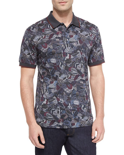 Feather Print Short-Sleeve Polo Shirt, Multi