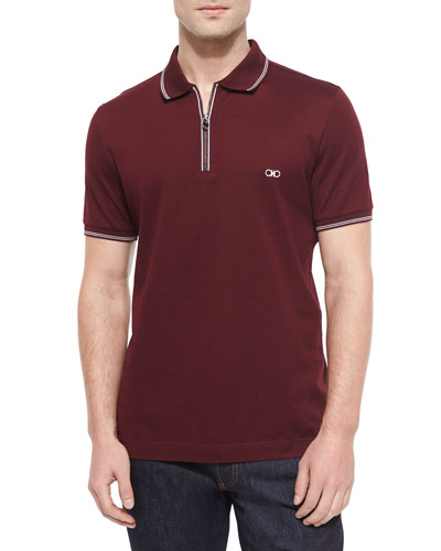 Short-Sleeve Zip Polo Shirt, Wine