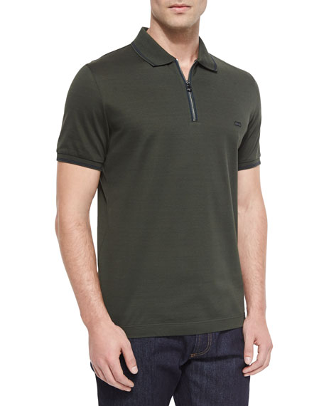 Salvatore Ferragamo Tipped Zip Polo Shirt, Green