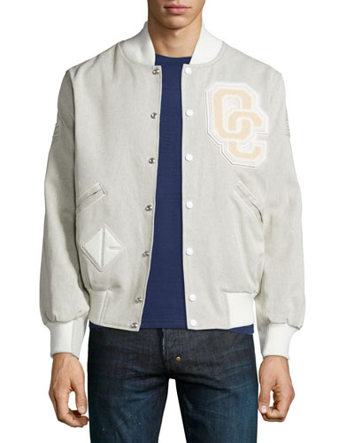 OC Denim Varsity Jacket, Off White