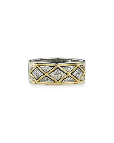 Classic Diamond-Pattern Band Ring, Men