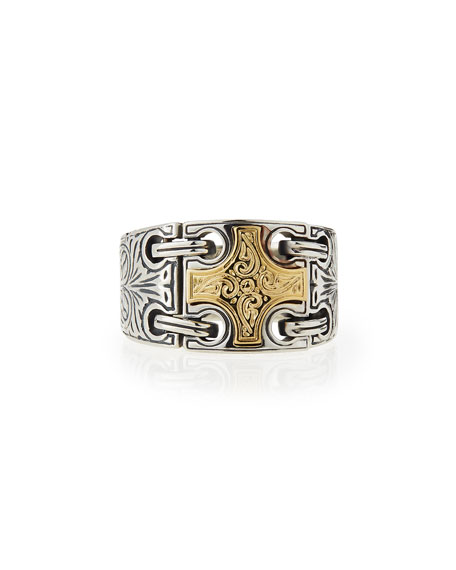 Konstantino Men's Maltese Cross Chain-Loop Ring