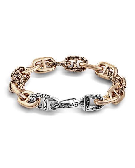 John Hardy Men's Bronze/Silver Carved-Link Bracelet