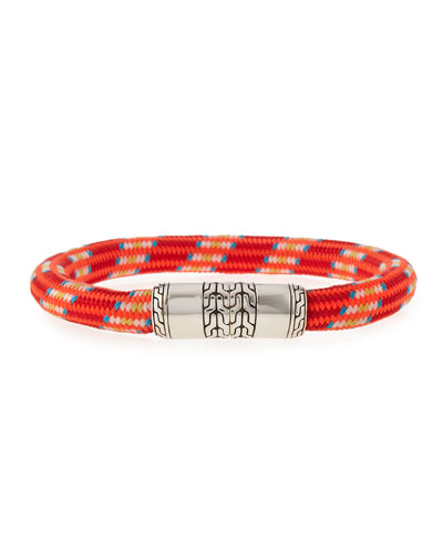Men's Classic Chain Multicolor Cord Bracelet, Red